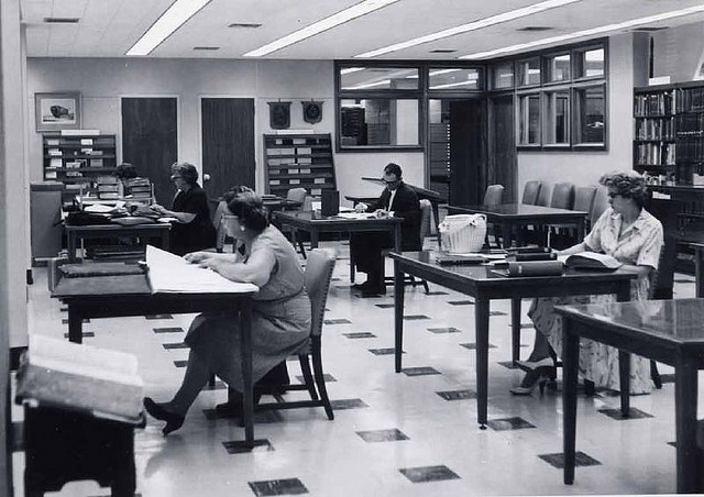 black and white picture of an archive reading room